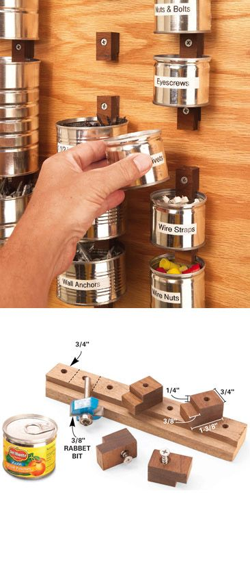 DIY Garage Organization: Set aside a few months' worth of fruit and coffee cans and put these cannery rows to work organizing all of the small hardware. All you need are some homemade wood clips and a chunk of 3/4-in. plywood screwed to a wall.+