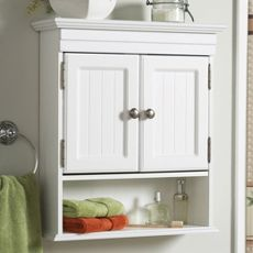 Zenith Products Cottage White Wall Bathroom Cabinet Behind The Toilet In Downstairs Bath