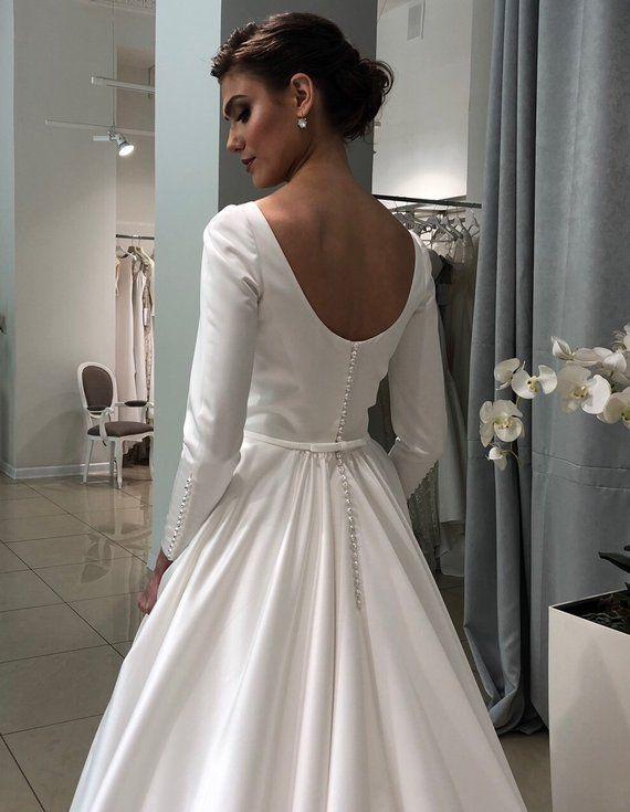 Megan wedding dress boho wedding gown elegant modern minimalism sleeves bohemian wedding dress train ivory white blush grey pluz size blue