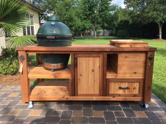 Outdoor Küche Kamado Joe : Custom grill table or grill cart for big green egg kamado joe
