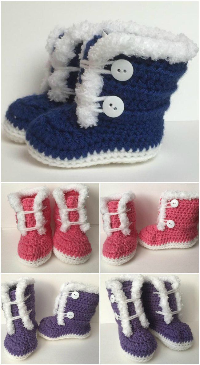 Crochet furry booties. Crochet patterns for sizes 3-12 months. Free ...