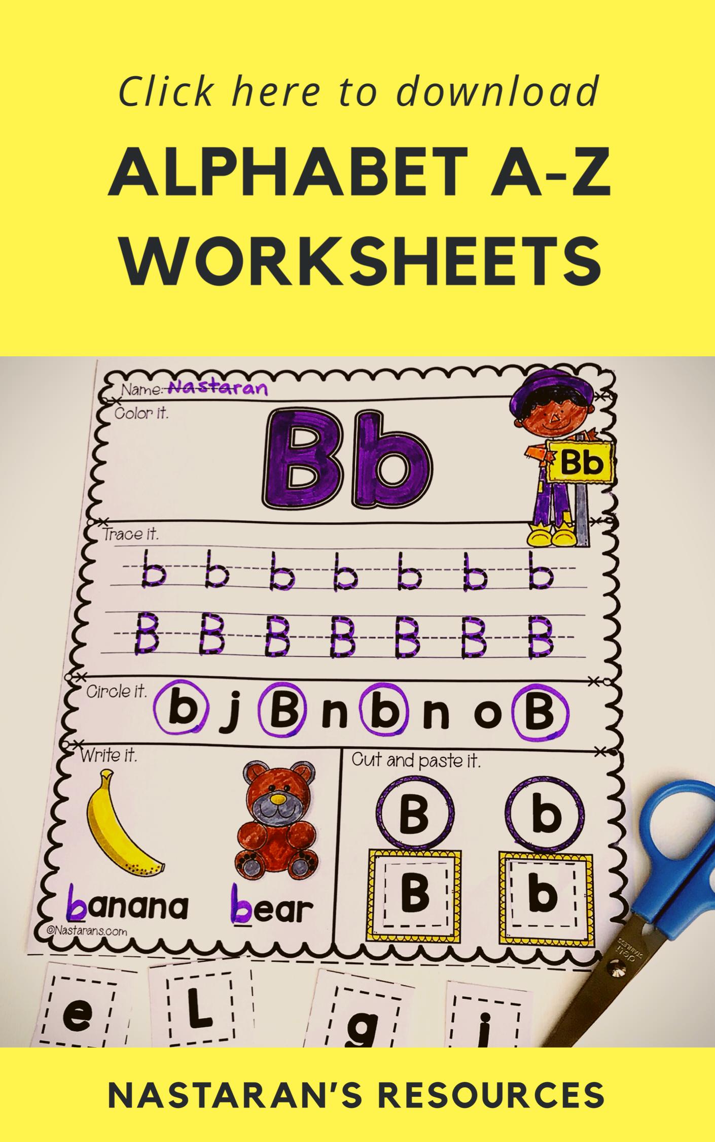 Alphabet Worksheets A Z For Kindergarten