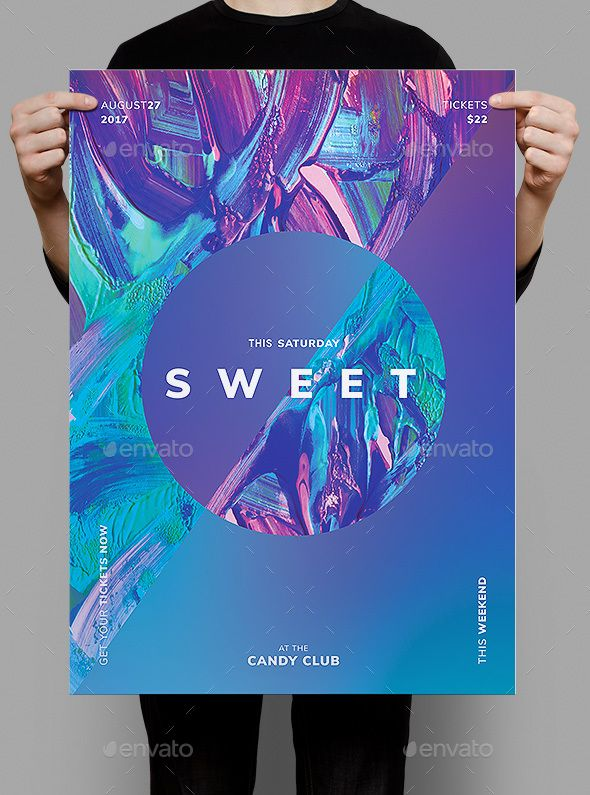Sweet Flyer / Poster Template Club parties, Template and Design