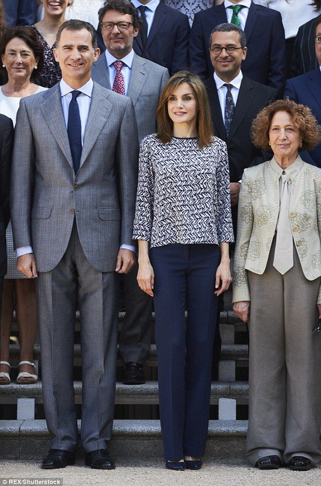 f93a154ee Queen Letizia of Spain, 43, looked perfectly chic in a navy patterned top  with three quarter length sleeves at a reception at the Zarzuela Palace in  Madrid