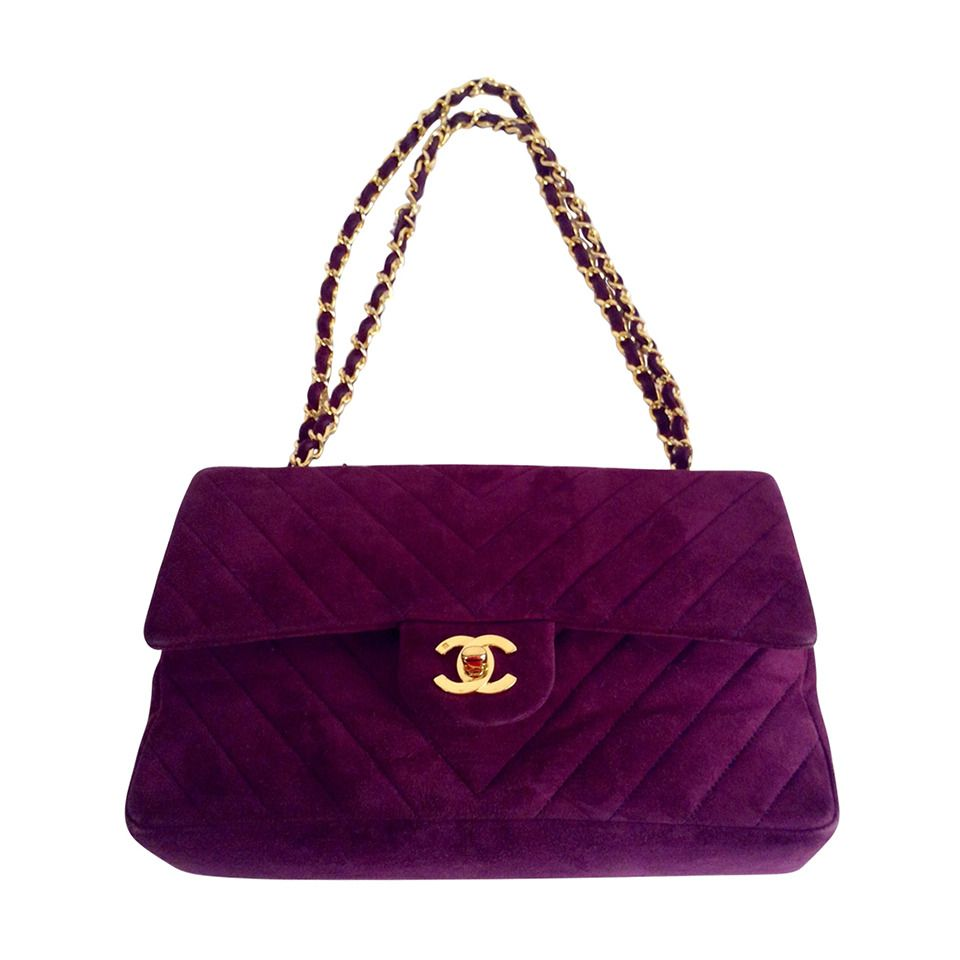 2f453d43fc0ea0 Vintage Chanel Plum Suede Chevron Quilted Double Flap Bag | From a  collection of rare vintage