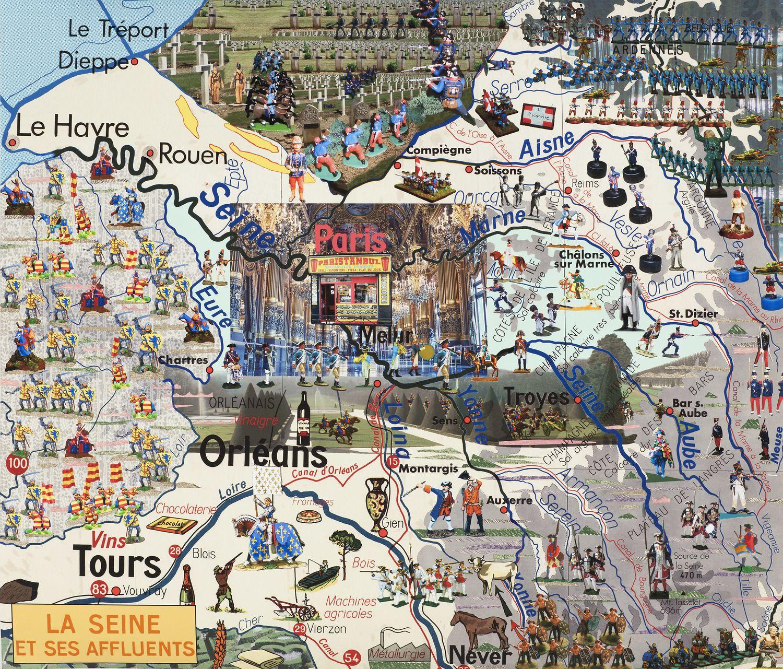 La Seine et Ses Affluents , Joyce Kazloff | Maps and Map Art ...