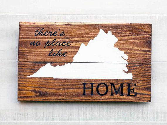 Virginia or any US state pallet wood state shape sign wall art - There's No  Place - Virginia Or Any US State Pallet Wood State Shape Sign Wall Art