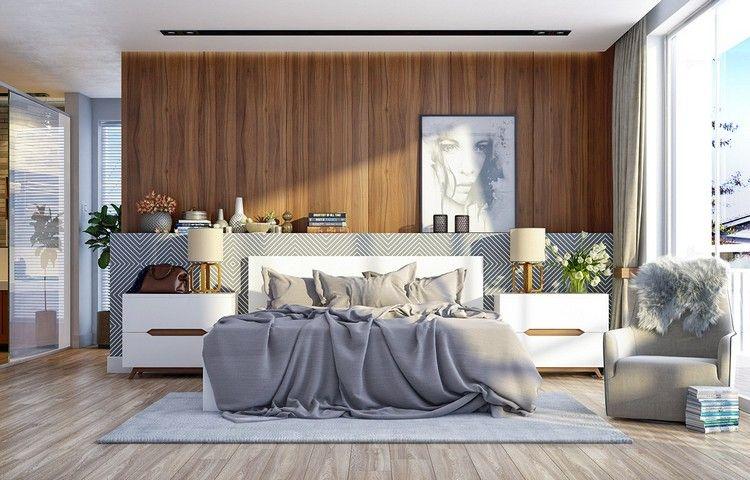modernes schlafzimmer design, modernes schlafzimmer design mit holz als wandverkleidung, Design ideen