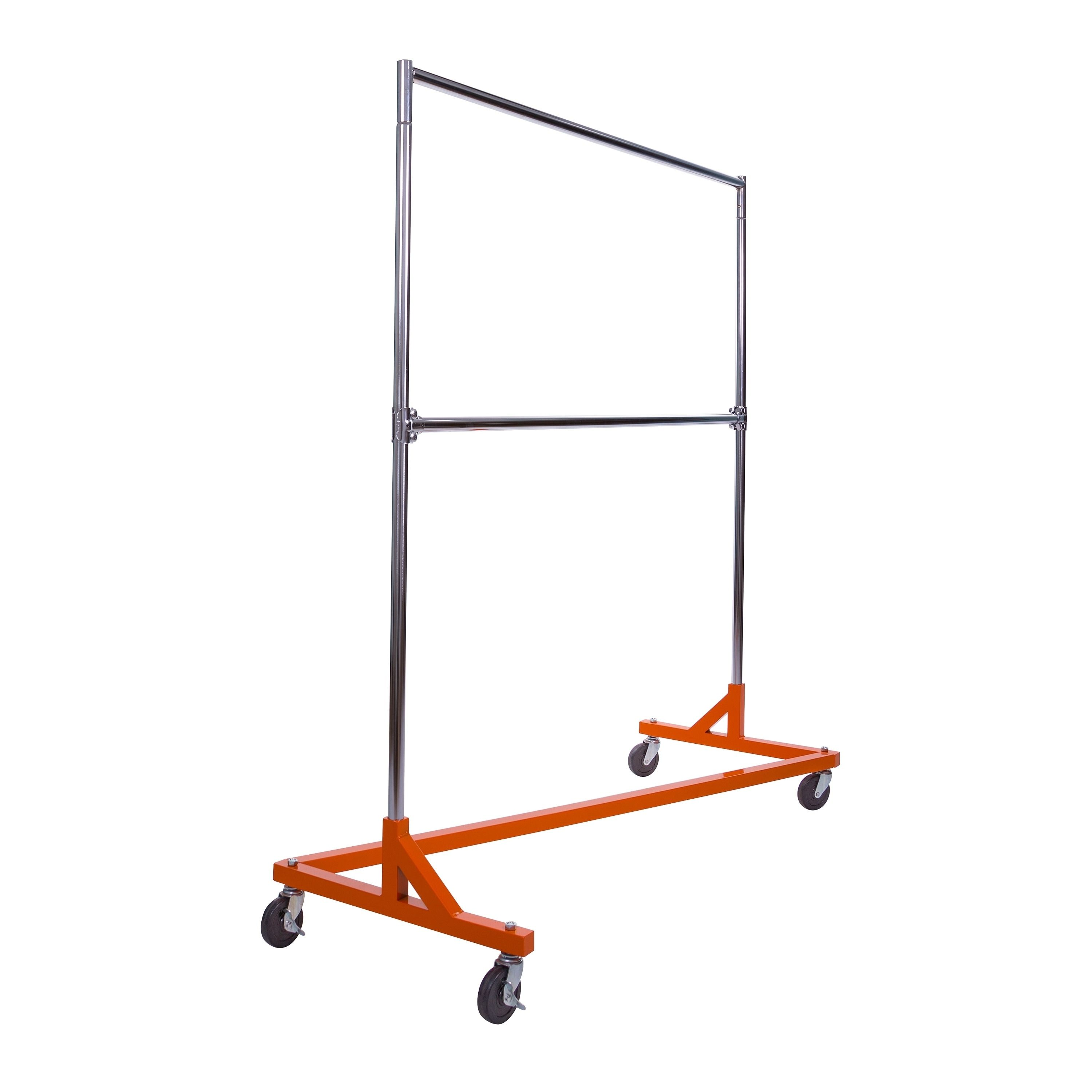 Econoco Rolling Garment Rack With Orange Z Base Chrome Hangrail And Uprights And Add On Hangrail Included Garment Racks Declutter Your Home Portable Wardrobe