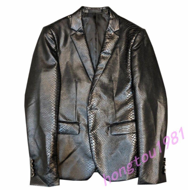 Mens Motorcycle Leather Blazer Casual Coat alligator