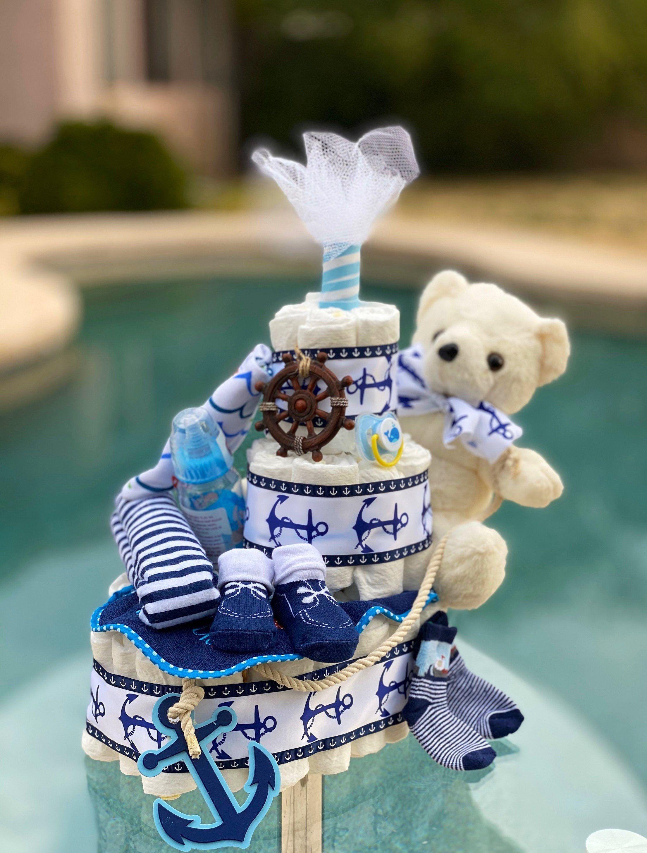 Nautical Diaper Cake, Boat Diaper Cake, Teddy Bear Diaper Cake