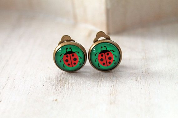 Ladybug clip earrings sweet lolita feminine  insect by DinaFragola