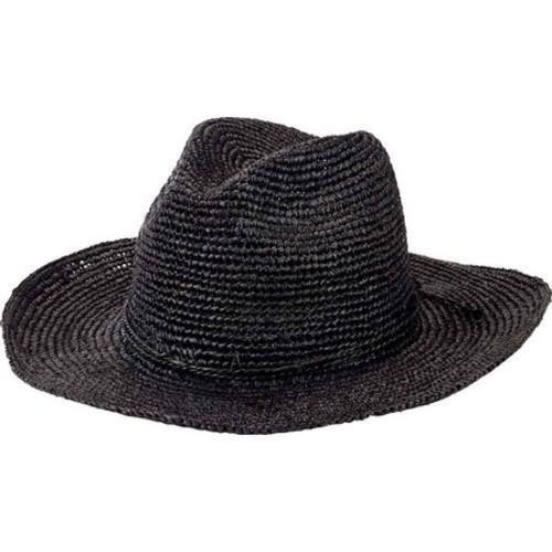 03ac6bf122c4ed Women's San Diego Hat Company Pinched Crown Fedora Crochet Raffia RHM6005  Black (US Women's One Size (Hat 6 5/8-8 1/8, Head 21-25 1/2))