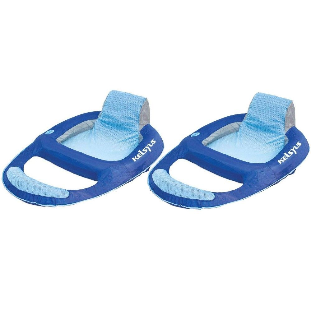 Kelsyus Floating Pool Lounger Inflatable Chair W Cup Holder Blue 2 Pack 80014 Inflatable Chair Floating Chair Floating Cooler