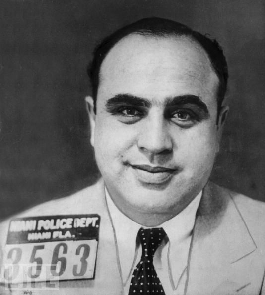 "Al Capone:   Here's the mug shot of the Chicago gangster and bootlegger ""Scarface"" Al Capone, circa 1925. Capone continues to inspire countless films, songs, TV series, and other works of popular culture today."