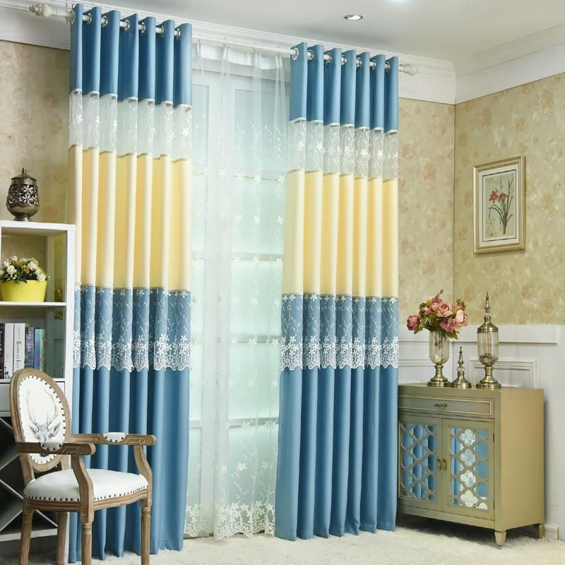 Korean Pastoral Style Lace Stitching Curtains Living Room Curtains Shade Warm Bedroom Bay Wi Voile Curtains Living Room Living Room Shades Curtains Living Room