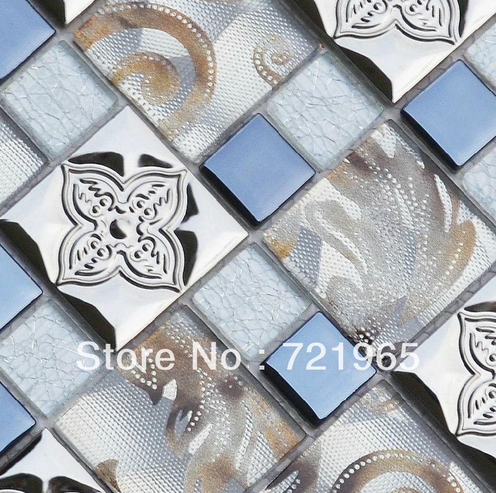 Stainless steel tile backsplash SSMT289 kitchen mosaic glass wall ...