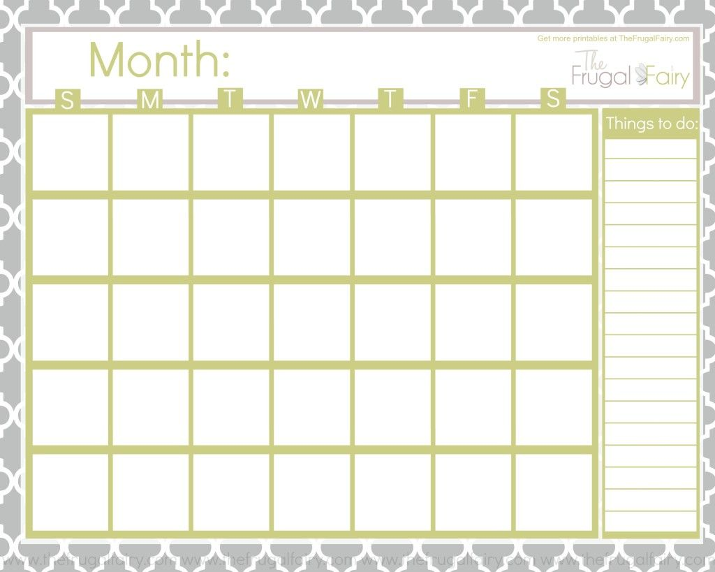 Free Blank Printable Calendar  Printables    Printable