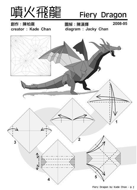 kade chan origami blog fiery dragon rh pinterest com Origami Star Diagram Origami Horse Diagram