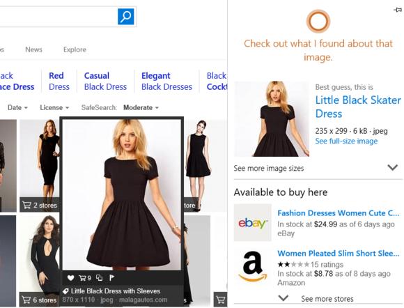 OK, Google, auf den Weg. Cortana Fragen, um mehr Informationen über ein Bild Suche entdecken können Sie erlauben zu entdecken, wo ein Produkt verkauft w