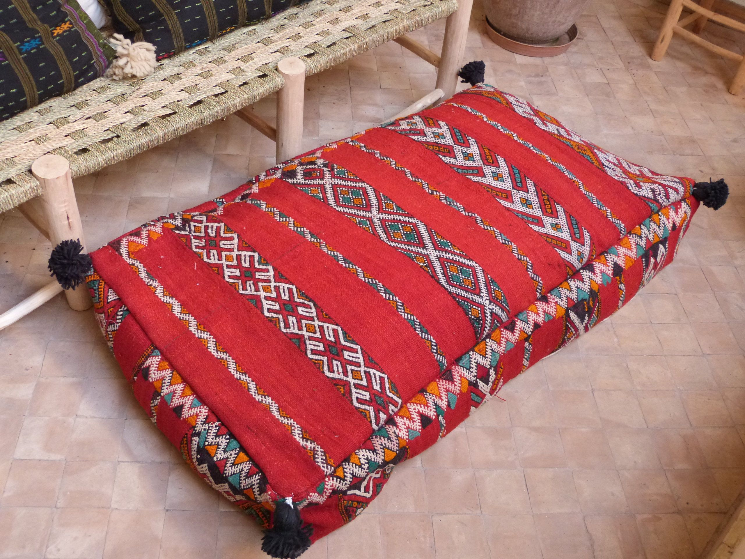 Kilim Pouf Pillow Moroccan Double Pouf Floor Pouf Floor Pillow Xxl