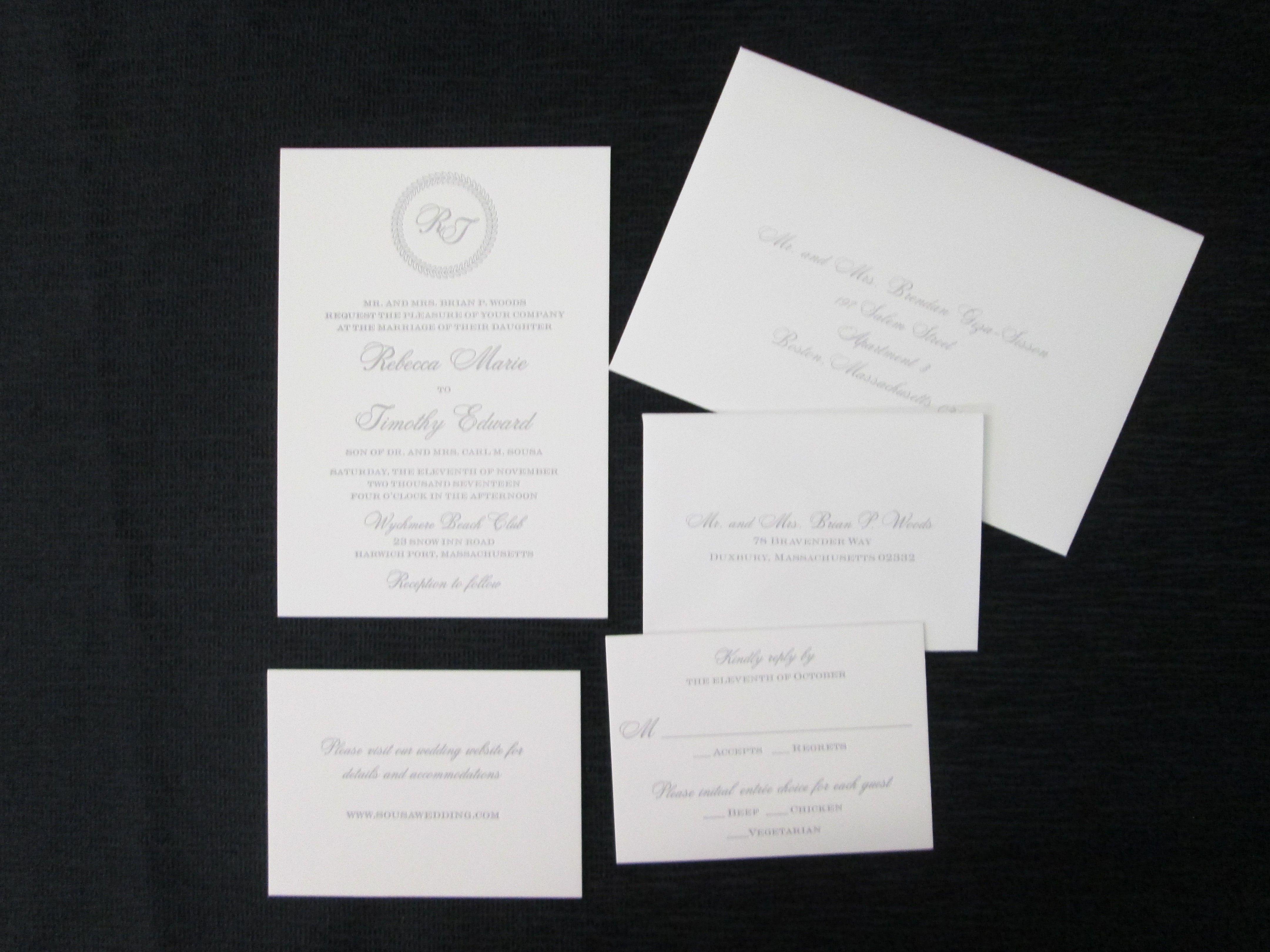Complete letterpress invitation set with machine envelope addressing ...