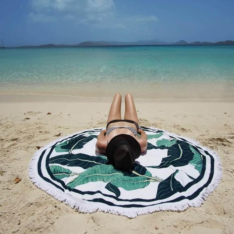 Hot Sale Green Leaves Printed Fringed Beach Towel Sun Shawl