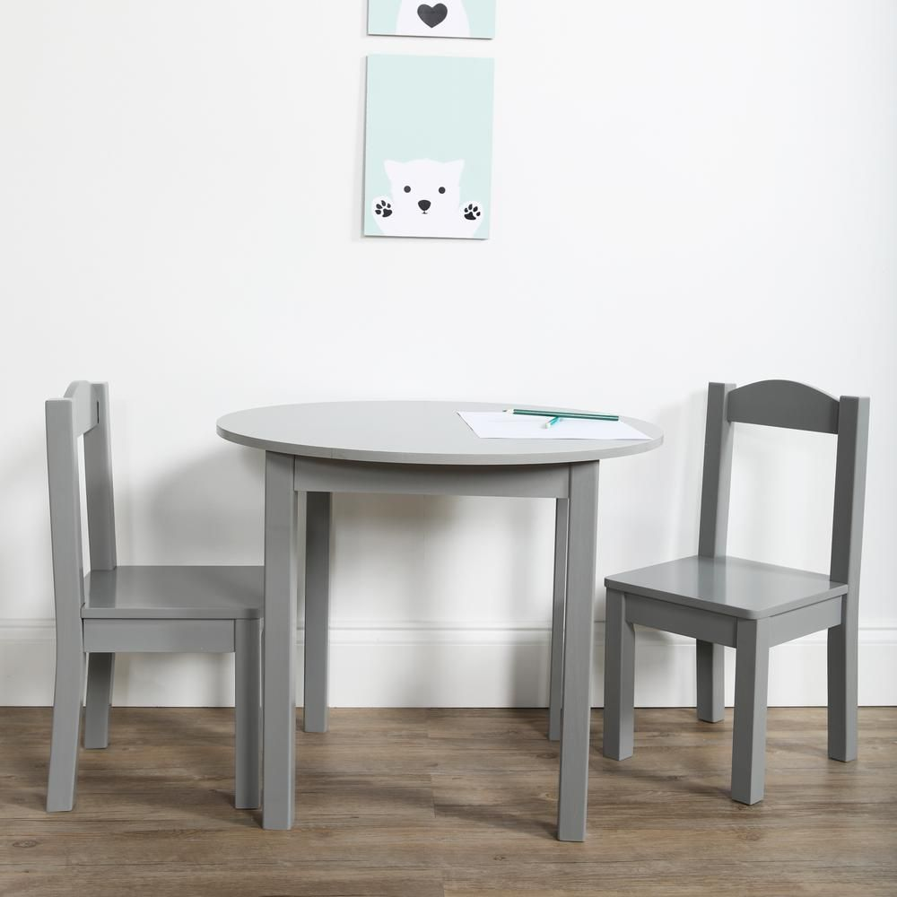 Tot Tutors Inspire 3 Piece Grey Kids Round Table And Chair Set
