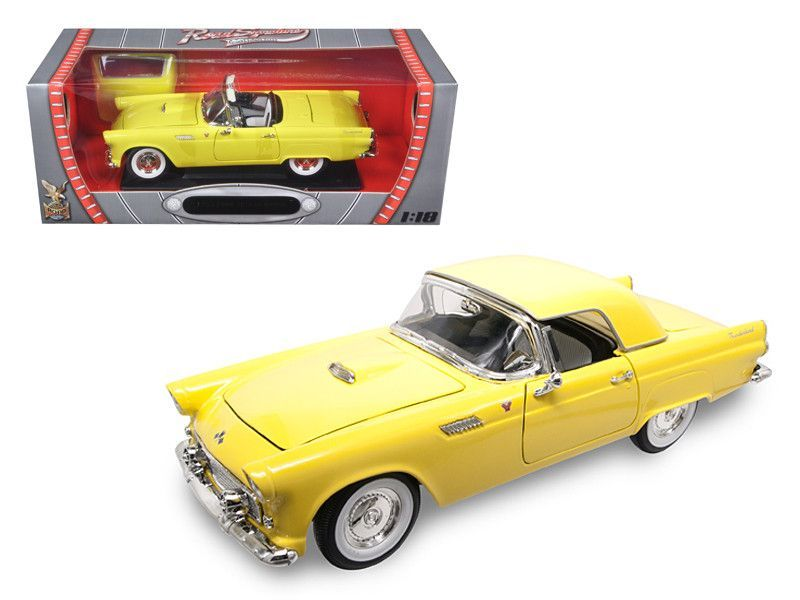 1955 Ford Thunderbird Yellow 1/18 Diecast Model Car by Road Signature