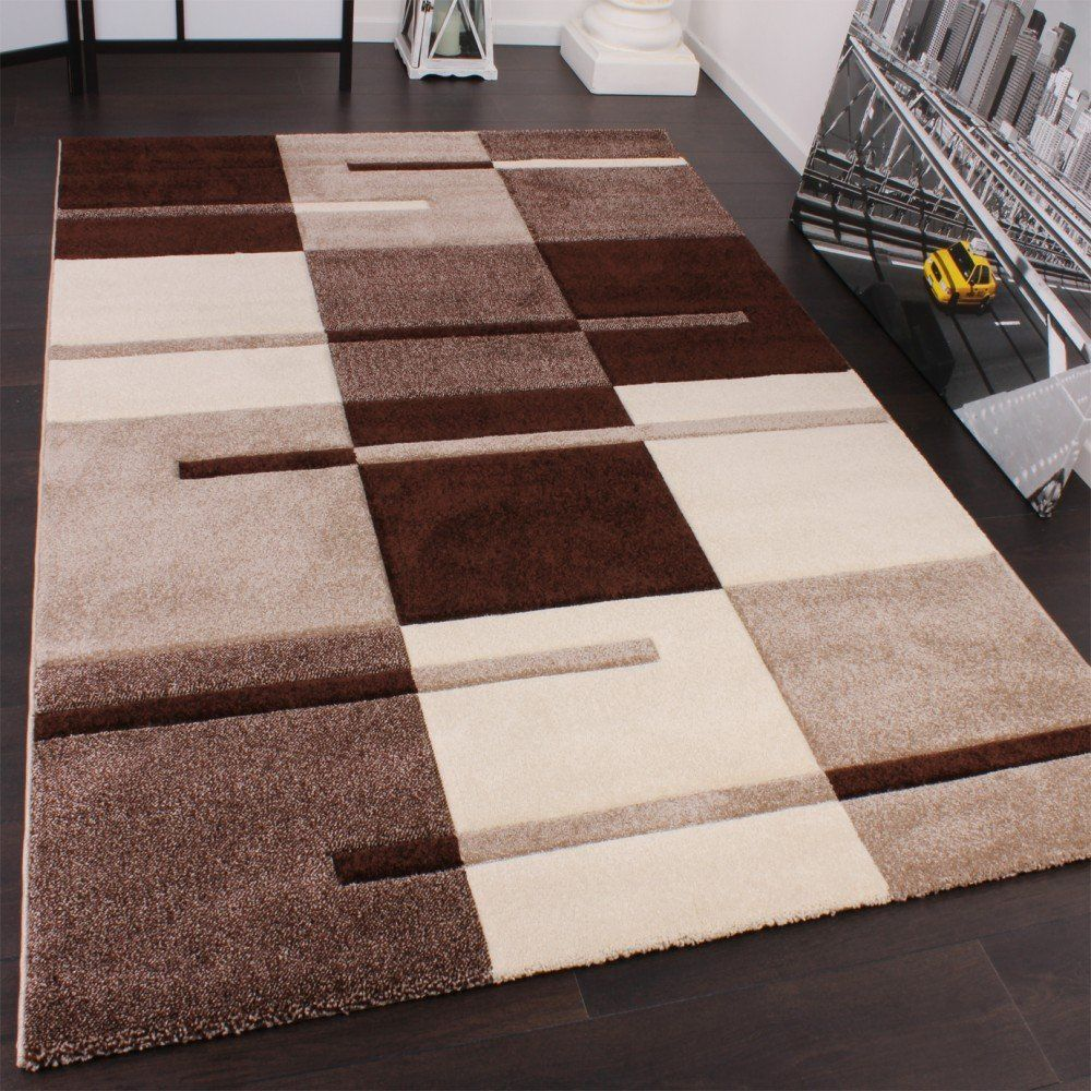 Karo muster designer rug with contour cutting beige brown karo muster designer rug with contour cutting beige brown 120x170 cm amazon baanklon Images