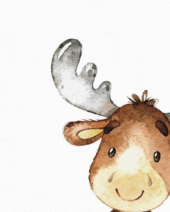 Arte animal del bosque - impresión del alce de la acuarela - vivero del bosque - arte de la pared del vivero - arte lindo de la niña del bebé - vivero de la acuarela - cuarto del bebé #kinderzimmerkunst