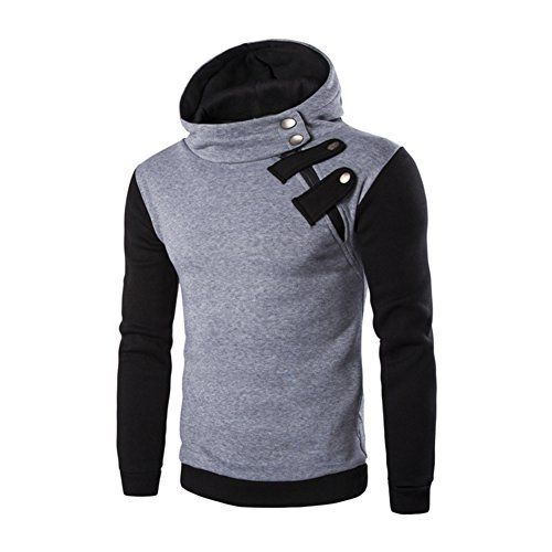 Men/'s Casual GYM Hoodie Sweatshirt Men Splice Slim FIt Zipper Sweat Shirts Tops