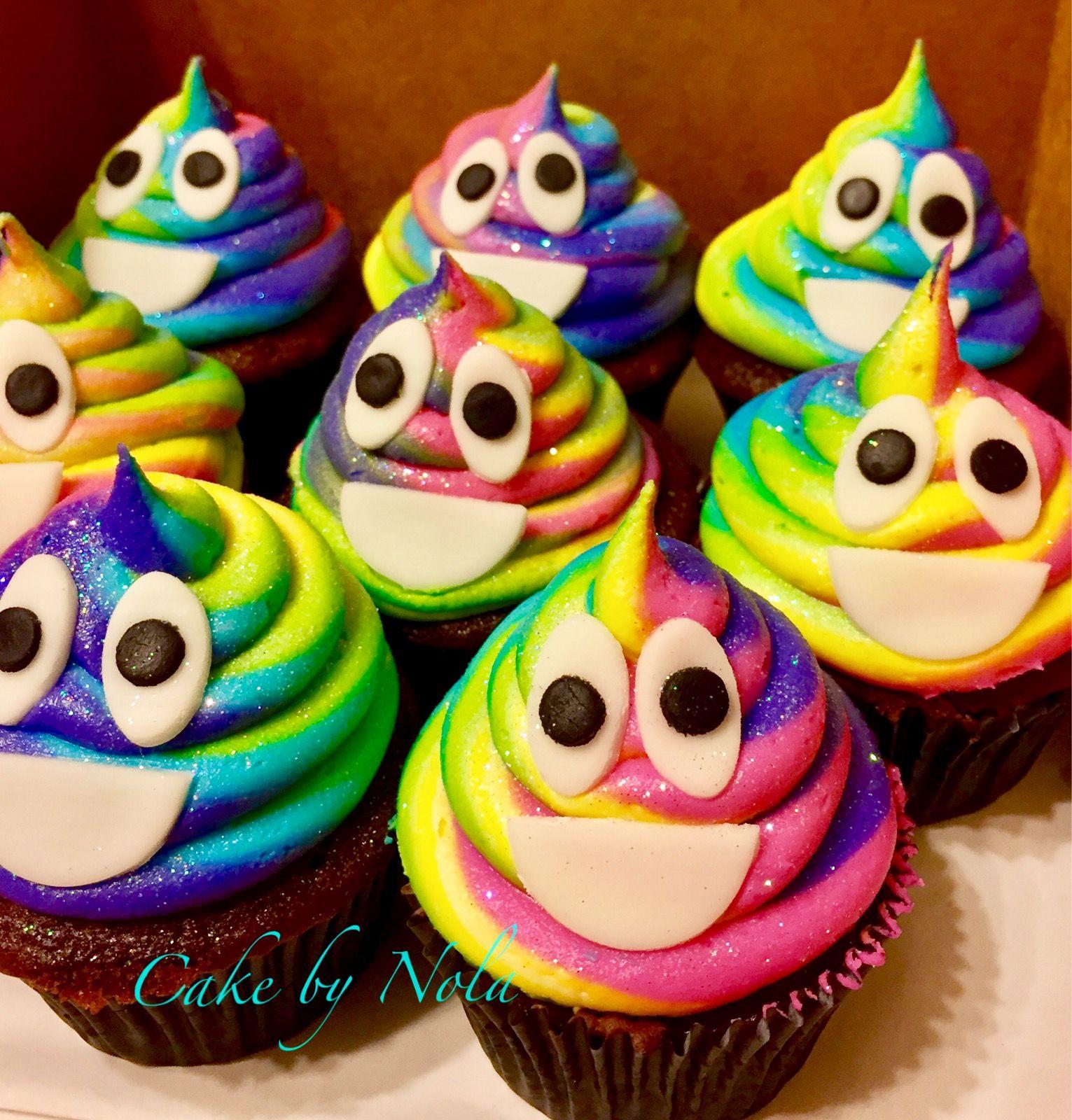 It Was Bound To Happen...rainbow Poo Emoji Cupcakes