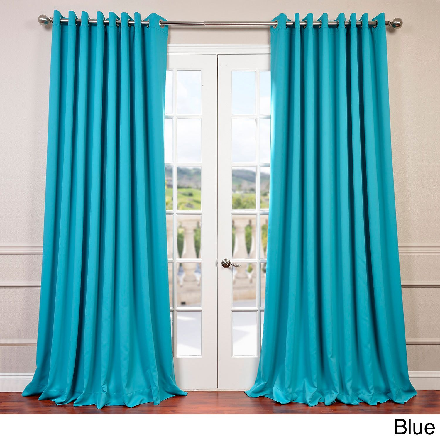 Exclusive Fabrics Extra Wide Thermal Blackout Grommet Top 84 Inch Curtain Panel Aqua Blue Size X Polyester Solid