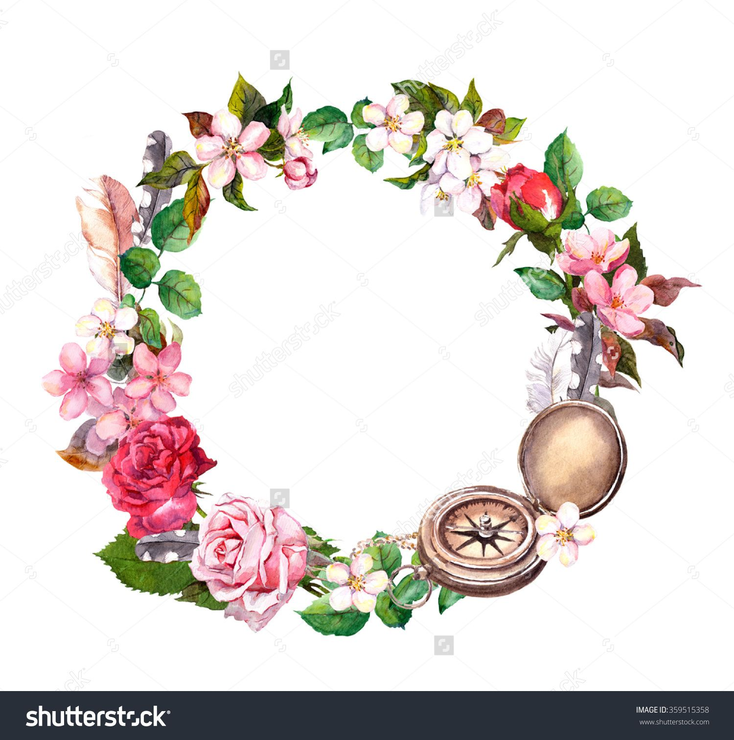 Vintage Compass Flowers And Feathers Travel Concept Wreath Watercolor Circle Frame Watercolor Circles Vintage Compass Wreath Watercolor