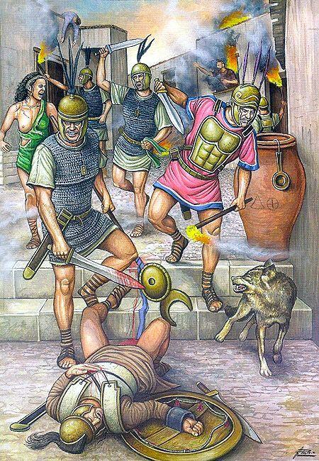 Hispania Romana - Roma y Cartago se disputaron el Mediterráneo occidental en las Guerras Púnicas, conflicto que tuvieron como escenario clave la península ibérica. El general romano Escipión con un ejército de 28.000 infantes y 3.000 jinetes asedió Qart Hadasht (hoy Cartagena), ciudad portuária fundada por Amílcar Barca, padre de Aníbal, los romanos lograron entrar en la ciudad, saqueandola y sometiendola.- Masacre en las calles de Cartago Nova, 209 aC.