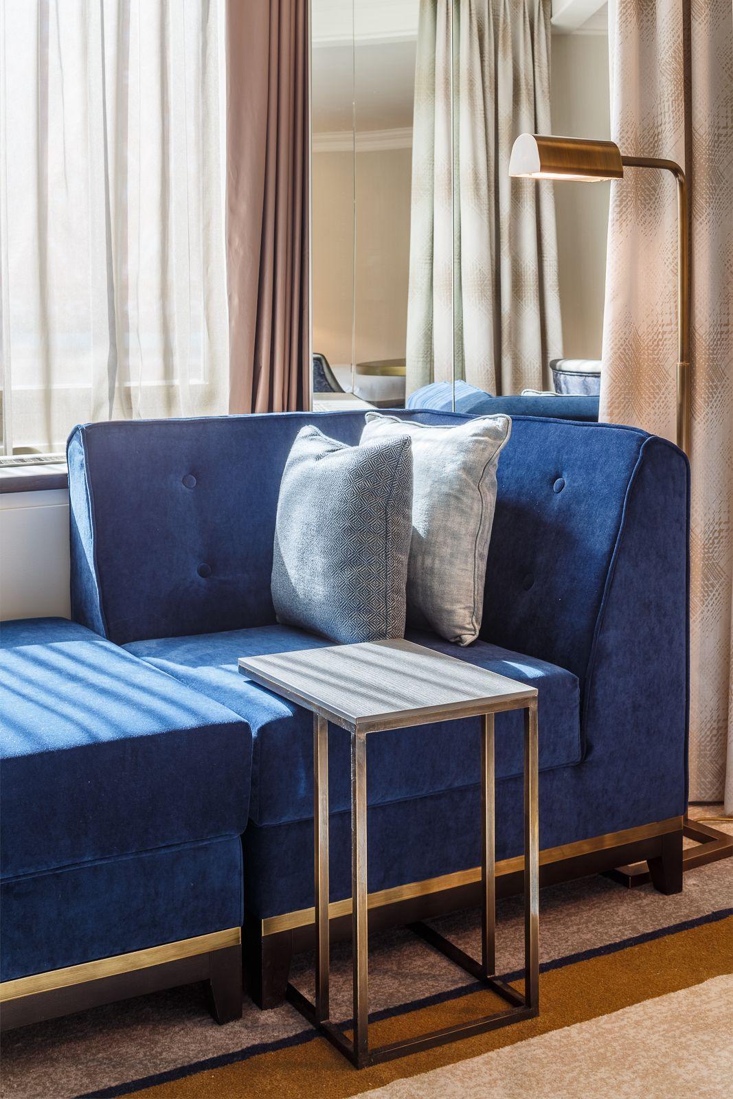 Royal Living Room Design: Bespoke Furniture In Royal Blue Velvet Hilton