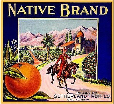 Donna Texas Moon Cowboy Orange Citrus Fruit Crate Label Art Print