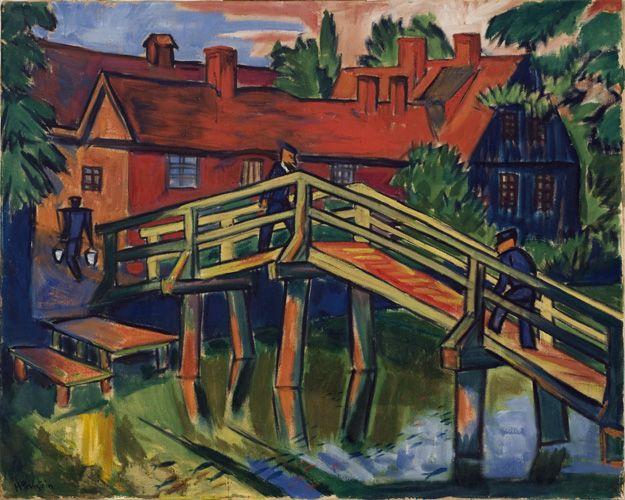 "Max Pechstein; German, 1881-1955; Die Alte Brücke (The Old Bridge), ca. 1910-11; Oil on canvas (16 1/2 x 15 1/2""); Gift of the Joseph B. and Ann S. Koepfli Trust; 2011.2"
