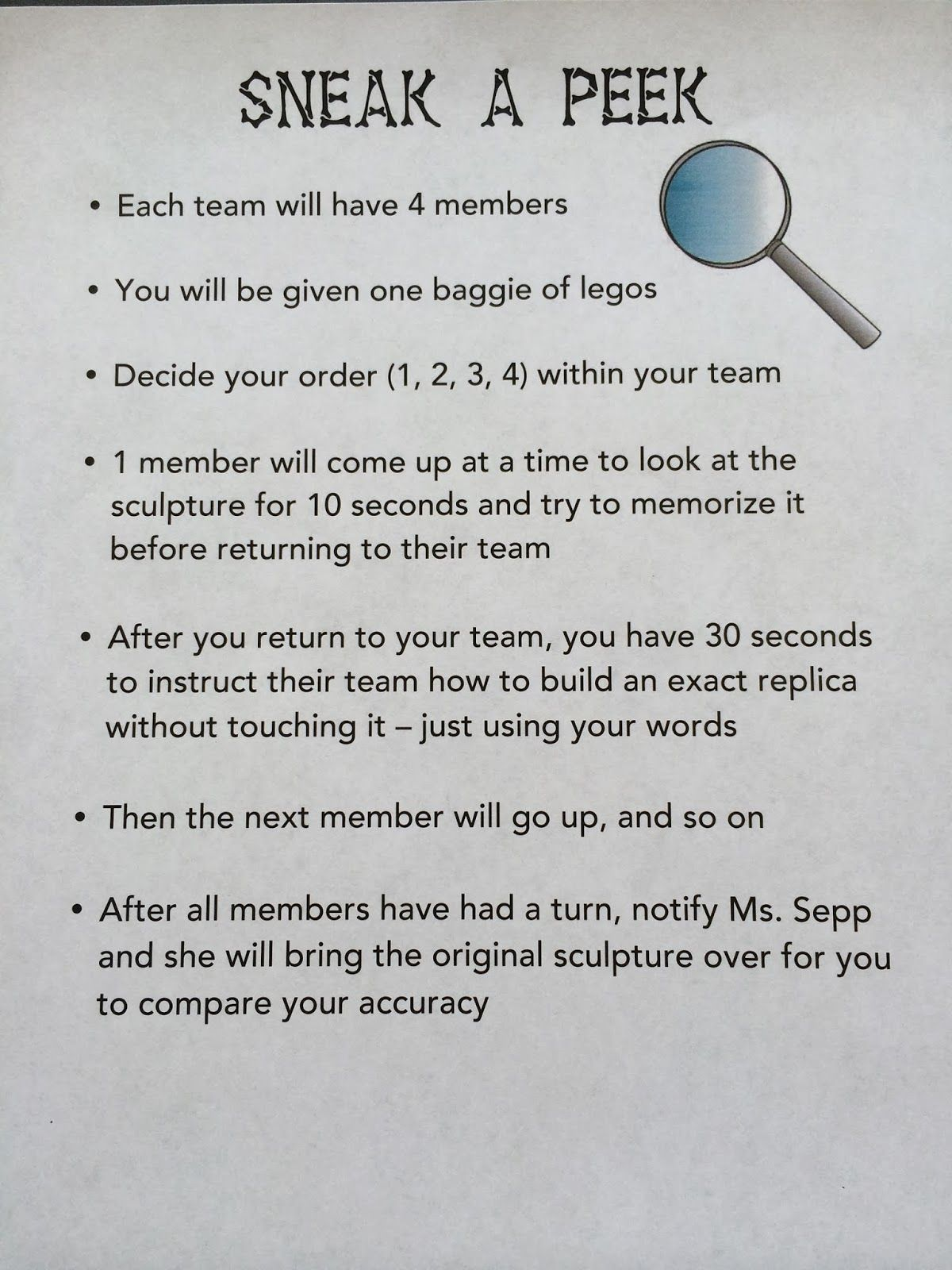 Team Building Sneak A Peek Team Building Activities For