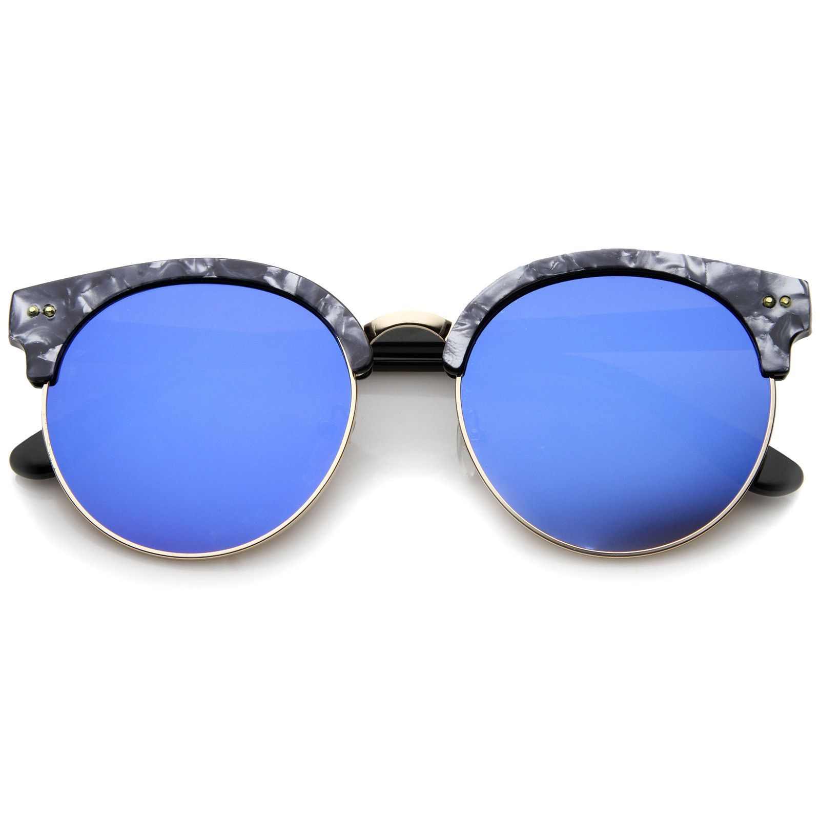 Womens Half-Frame Marble Finish Moon Cut Color Mirrored Lens Round ...