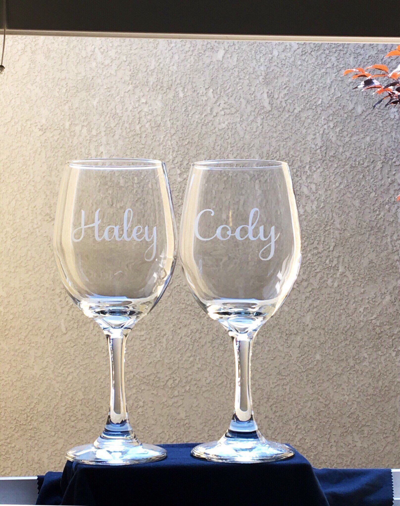 Bridal Shower Gift His And Hers Wedding Glasses Etched Name Wine