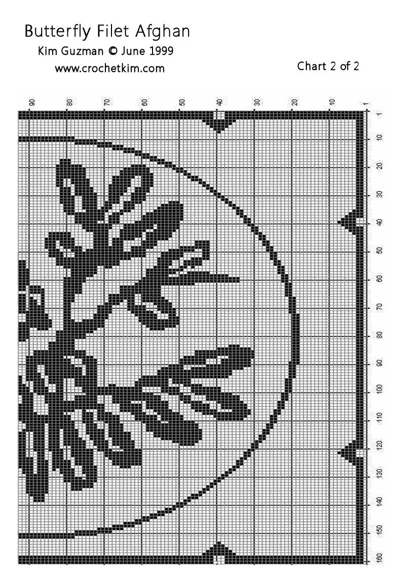 Butterfly Filet Afghan Chart 2 Free Crochet Pattern | Pinterest