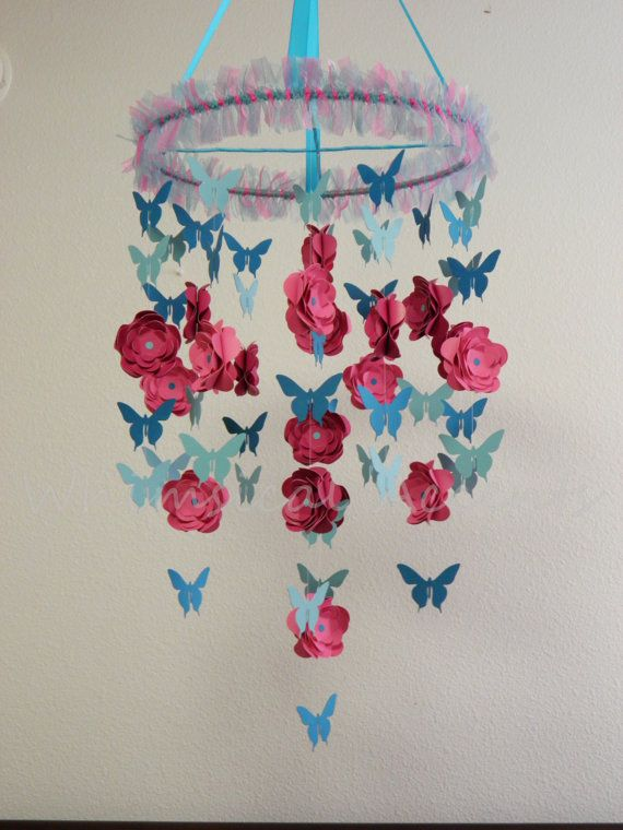 Butterflies in the Garden Baby Mobile in Pinks and Blues by whimsicalaccents on Etsy