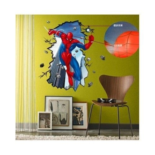 Spiderman 3D Wall Sticker Art Decal Fantasy Bedroom Marvel Large ...