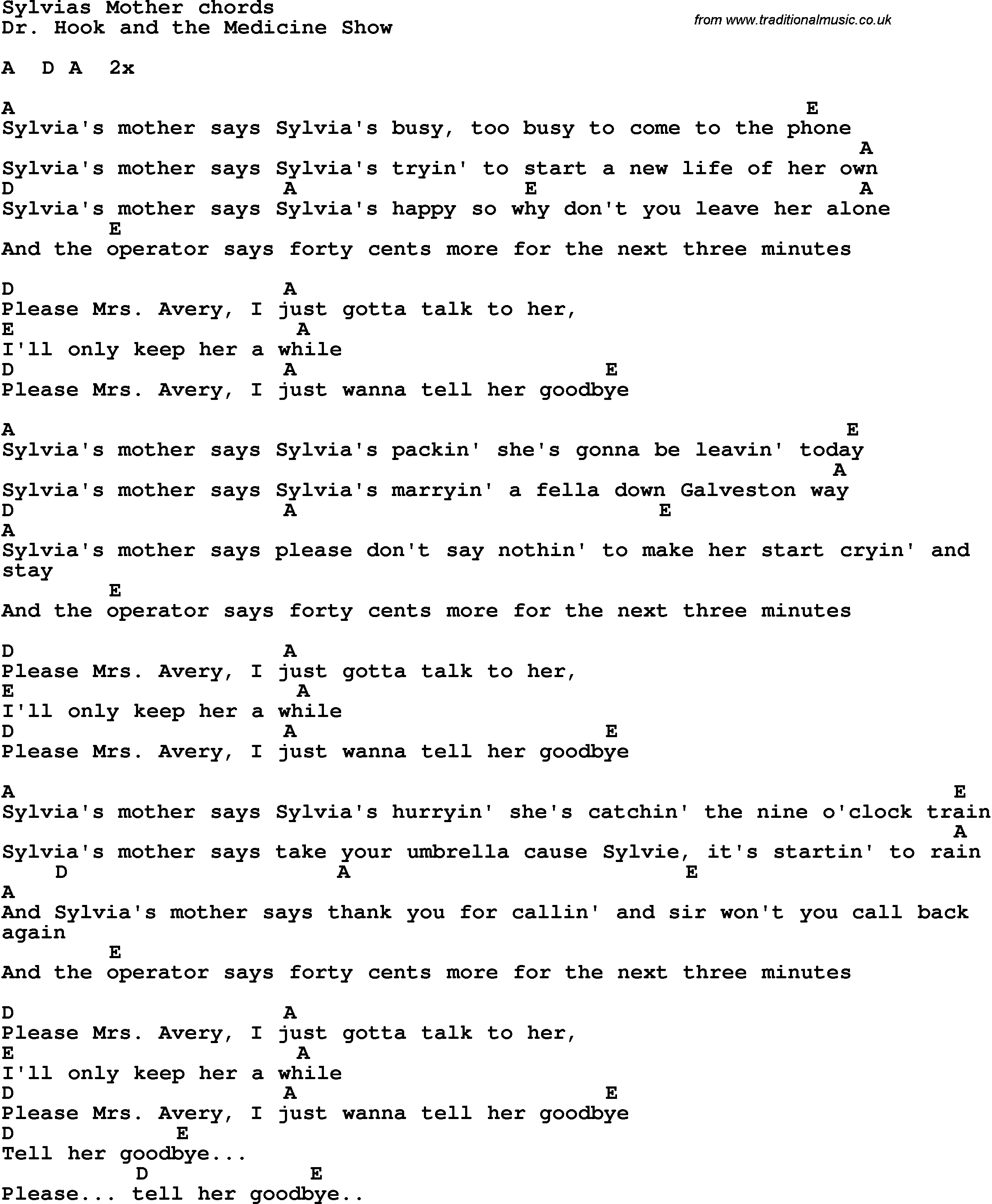 Lyrics to sylvias mother song lyrics with guitar chords for lyrics to sylvias mother song lyrics with guitar chords for sylvias mother hexwebz Choice Image