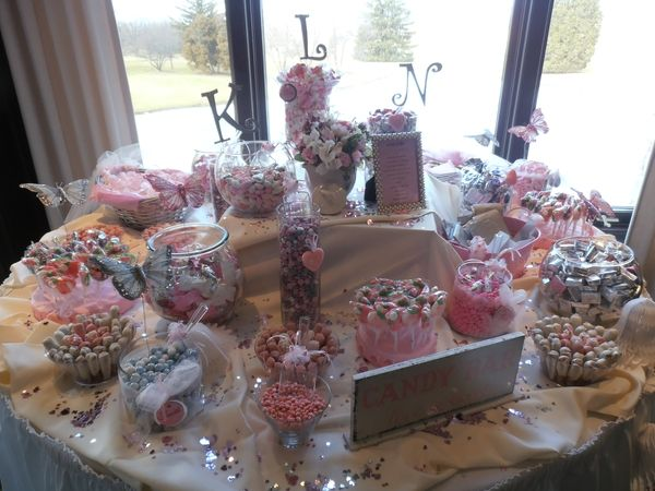 Guests will love your DIY shower or wedding candy favor station. This one done in all pinks and white in assorted decorator jars and baskets. Personalize it with the couples monogram. YUM http://www.pinterestbest.net/Cheesecake-Factory-Gift-Card