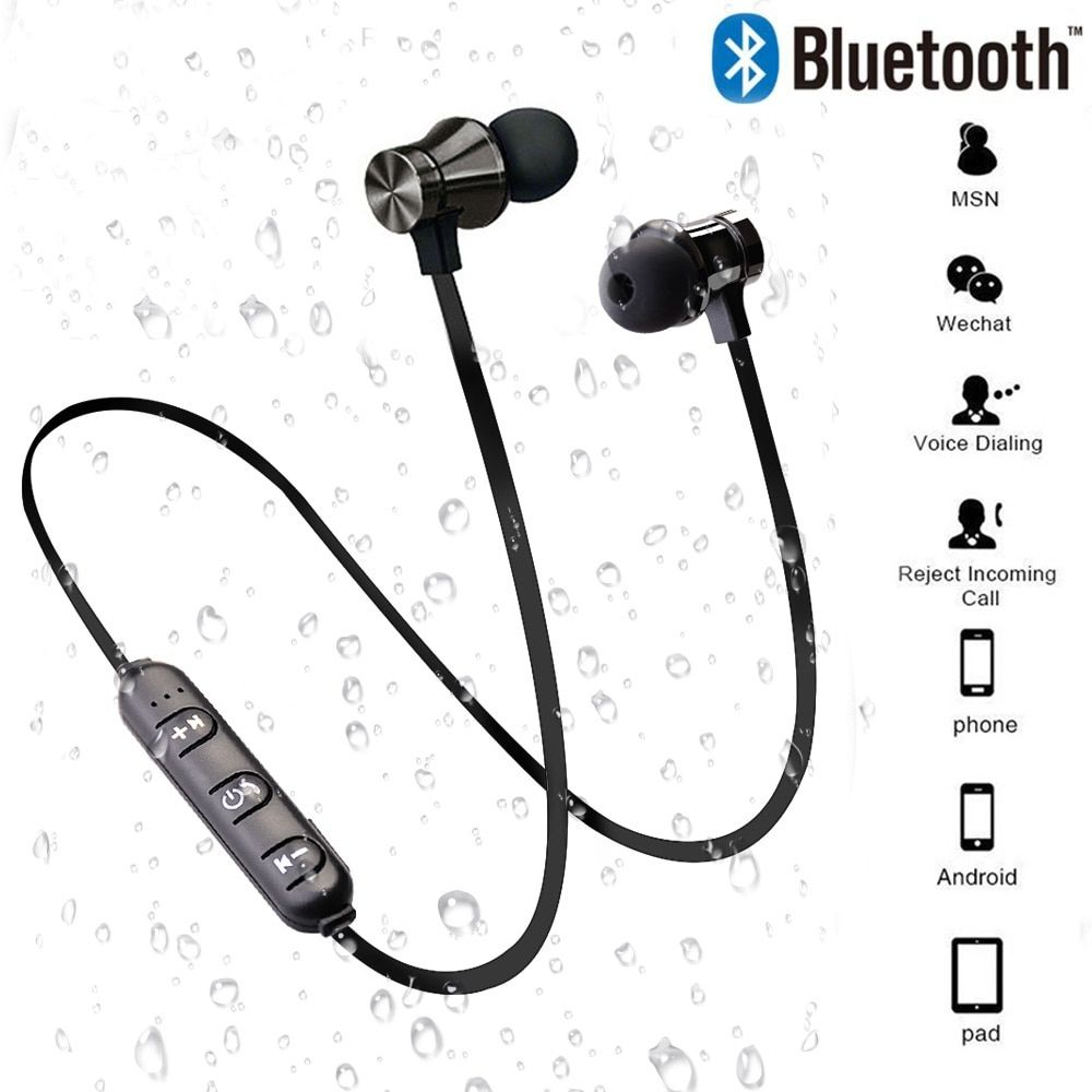 Magnetic Wireless Bluetooth Earphone Stereo Sports Waterproof Earbuds Wireless In Ear Headset With Mic For Iphone 7 Samsung 10kont Earbuds With Mic Bluetooth Earphones Earphone