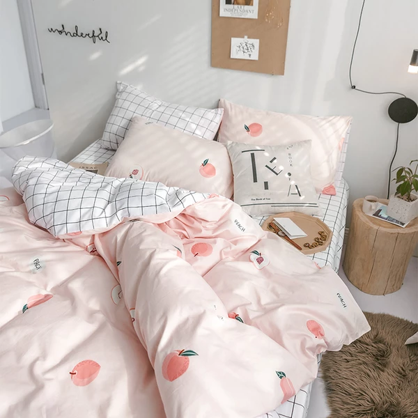 Sweet Peach Theme Comfortable Bedding Set Room Ideas Bedroom Aesthetic Bedroom Bedding Set