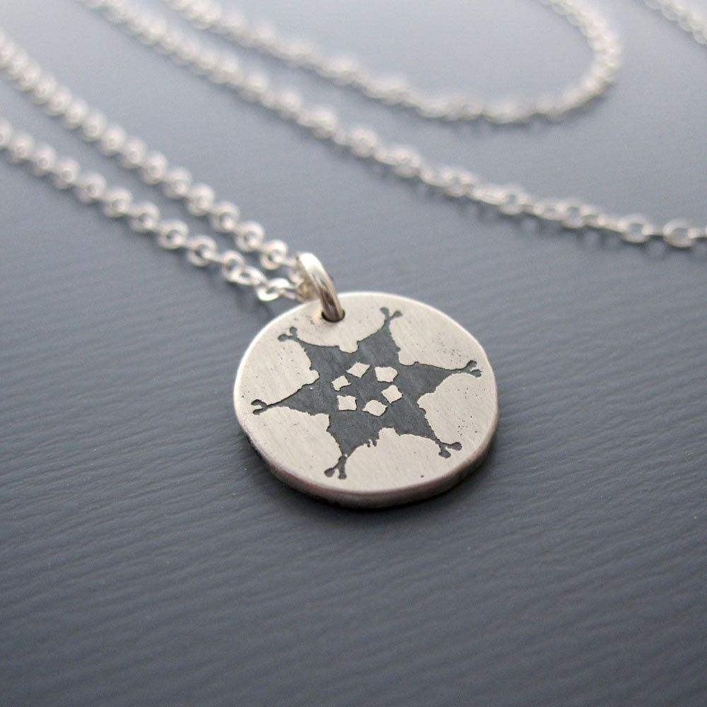 Tiny silver snowflake necklace etched pendant pendants handmade tiny silver snowflake necklace etched pendant aloadofball Images